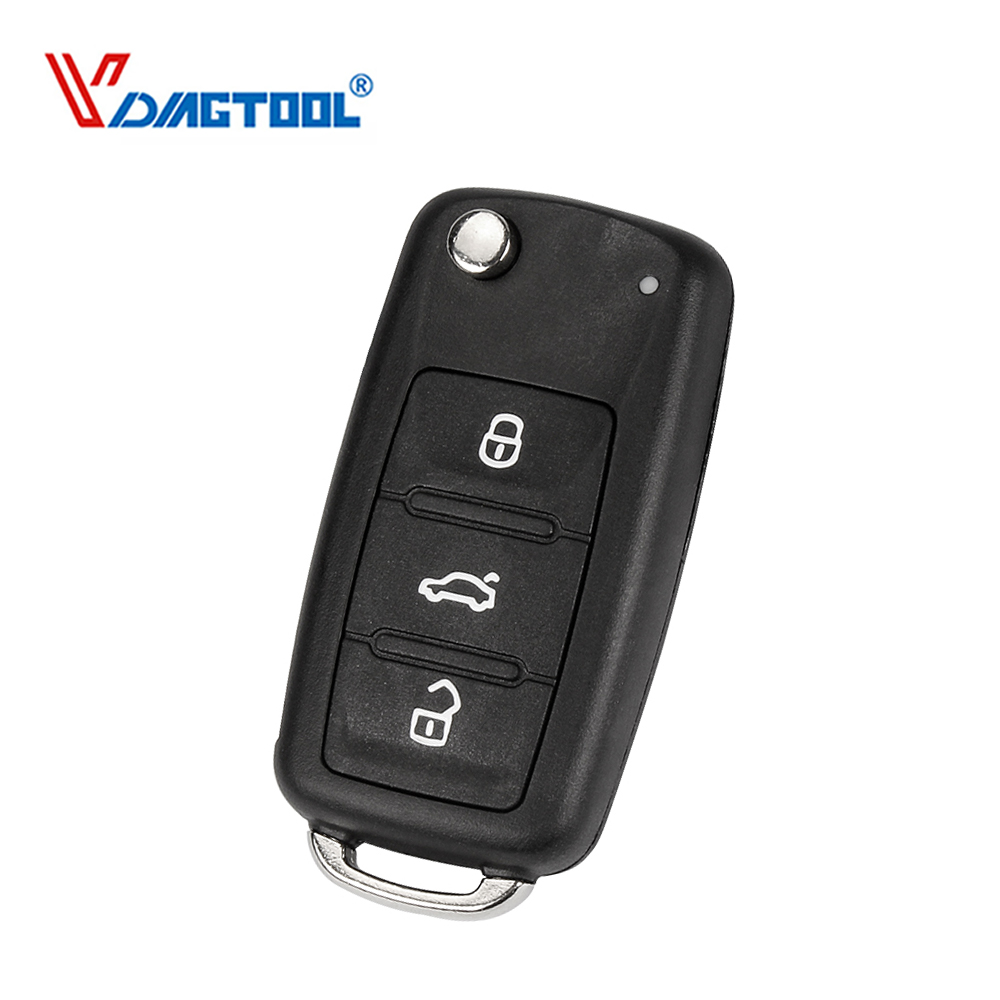 VDIAGTOOL Flip Folding 3 Buttons Remote Key Shell For VW Orignal Replacement No Logo Car Key Case(China)