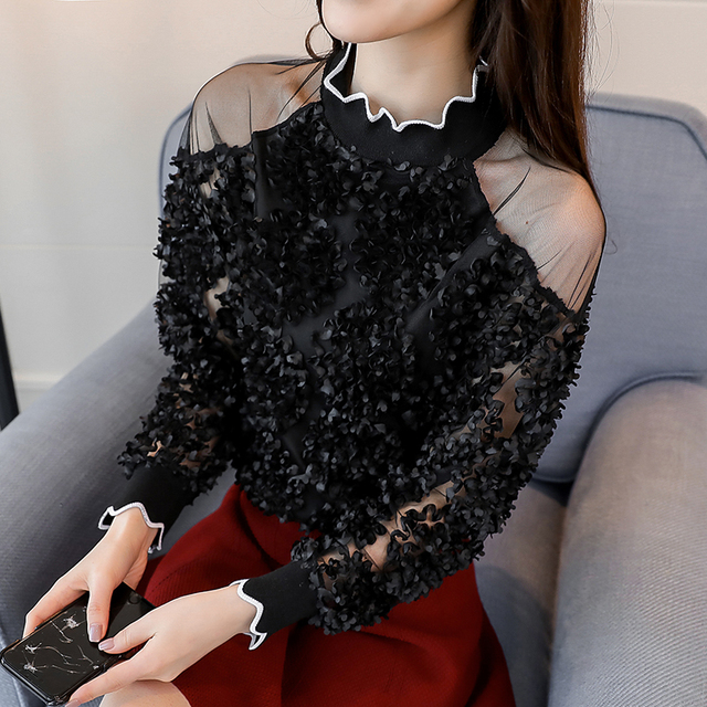 lace patchwork sexy style female shirts fashion women clothing lace blouses  3