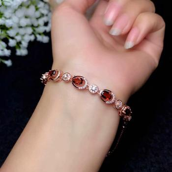 popular wine red garnet gemstone bracelet for women with silver 2