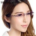 Personalizado 100% pure titanium sin rebordes marco de los vidrios de las mujeres miopía gafas gafas de diamante de corte de oro lentes de prescripción