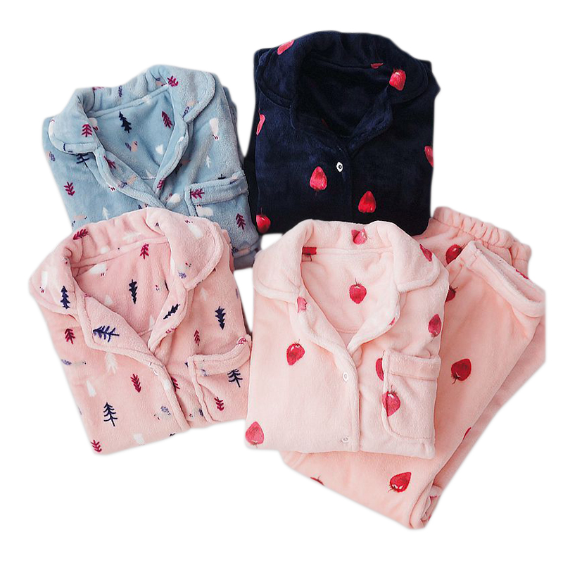 Fresh strawberry flannel women pyjamas winter warm pijamas long sleeve   pajamas     sets   Christmas cute   pajamas     sets   women sleepwear