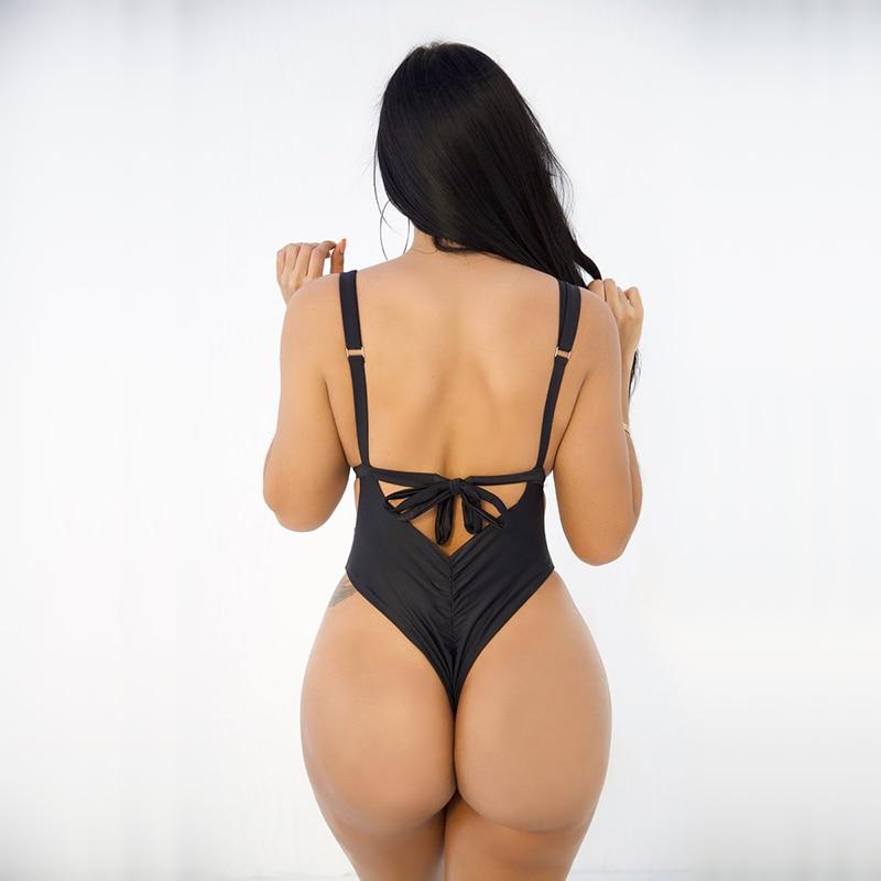 Female Bandage Swimwear Women One Piece Swimsuit Push Up Sexy swim Suit High Waisted Monokini Bodysuit Beachwear Swimwear 2018 in Body Suits from Sports Entertainment