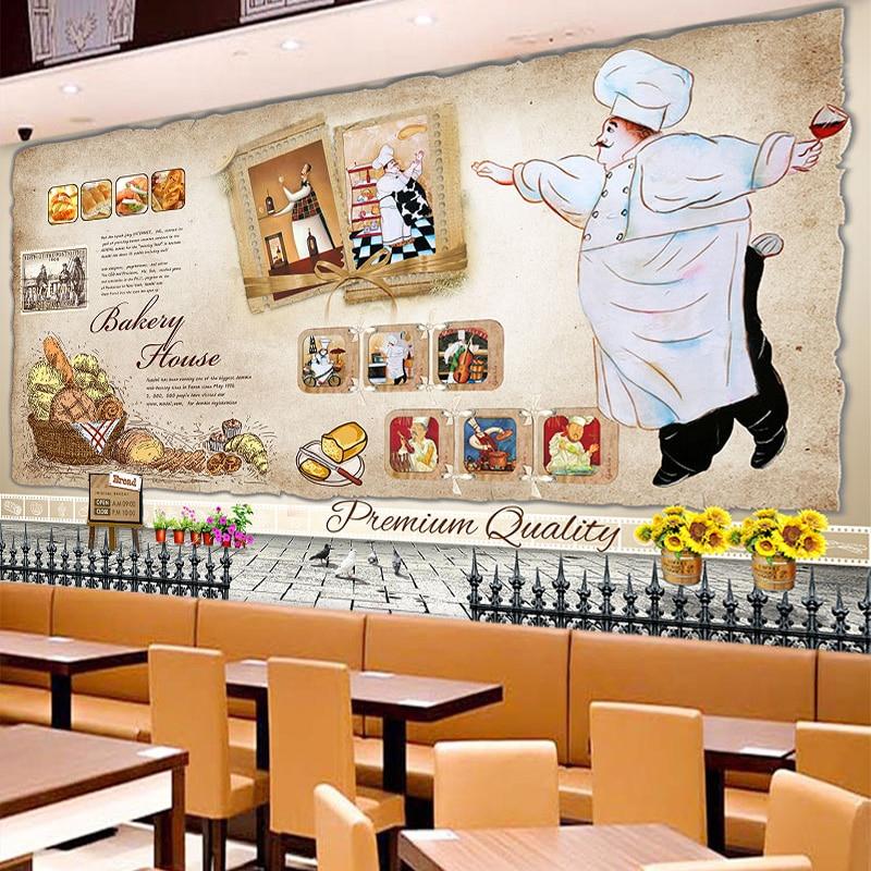 Beibehang custom 3d milk tea dessert cake bakery wallpaper for Bakery decoration