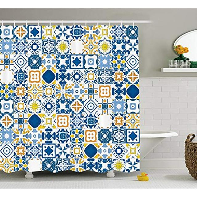 Shower Curtains.Us 18 49 Vixm Yellow And Blue Shower Curtain Mosaic Portuguese Azulejo Mediterranean Arabesque Effect Fabric Bath Curtains In Shower Curtains From