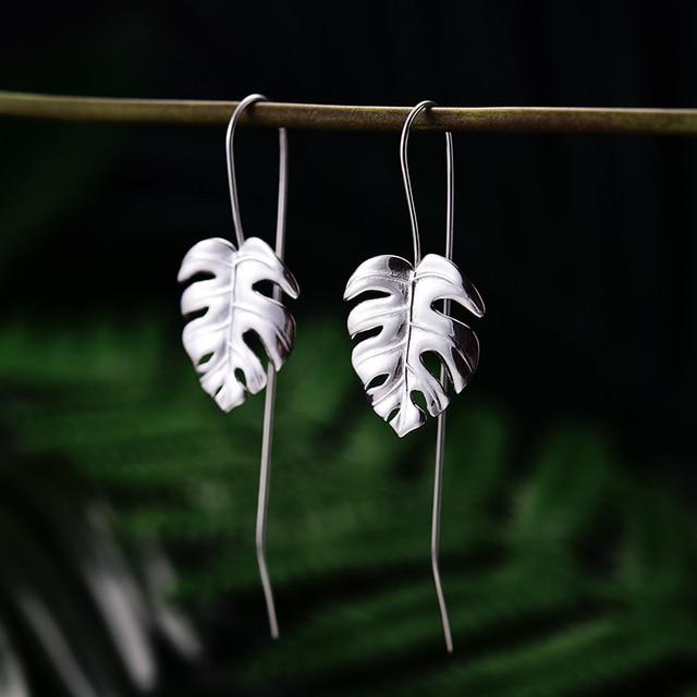 Lotus Fun Real 925 Sterling Silver Creative Handmade Design Fine Jewelry 18K Gold Monstera Leaves Drop Earrings for Women Bijoux 2