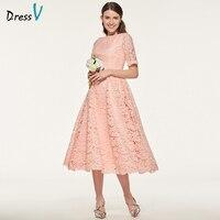 Dressv Pink Bridesmaid Dress Short Sleeves A Line Tea Length Lace 2018 Simple Custom Wedding Party