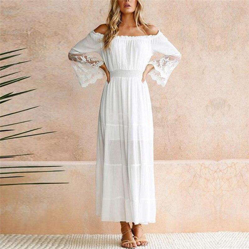 Для женщин Лето Boho Кружевное платье макси Вечеринка белый Slash шеи Flare с длинным рукавом Пляжные наряды