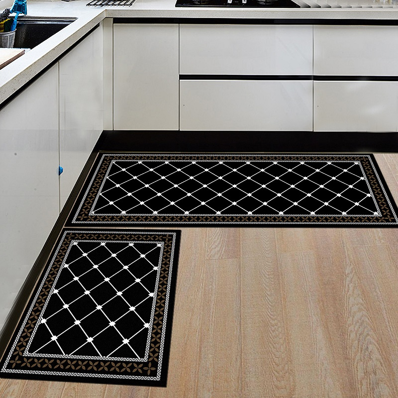 US $3.74 32% OFF|Black White Kitchen Mat Geometric Print Kitchen Floor Mat  Non Slip Kitchen Cooking Rugs Balcony Bathroom Carpet Entrance Doormat-in  ...
