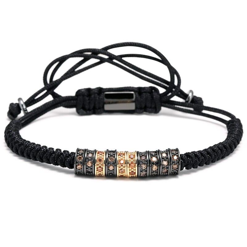Mcllroy Summer Men Bracelets Round Bead Micro Pave Black CZ Beads Braiding Macrame Charm Bracelets & Round Zircon Inlay Bangle