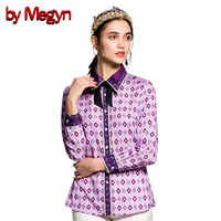 Durch Megyn frauen bluse plus größe 3xl runway fashion langarm vintage print shirts blusen frauen tops und blusen