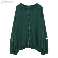 Qlychee Autumn Women Harajuku Outerwear Ring Zipper Hooded Solid Color Jacket Long Sleeve Casual Loose Coat