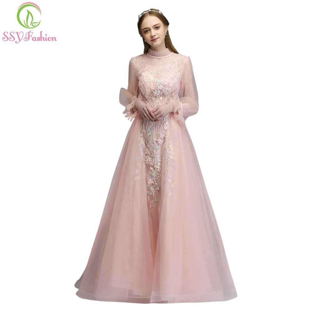 SSYFashion 2018 New Lace   Prom     Dress   Sweet Pink Princess Long Sleeved High-neck Appliques Floor-length Evening Party Formal Gown