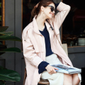 [XITAO] WOMEN'S long wide-waist form casual style solid color open stitch single breasted turn-down collar trench MFB-40