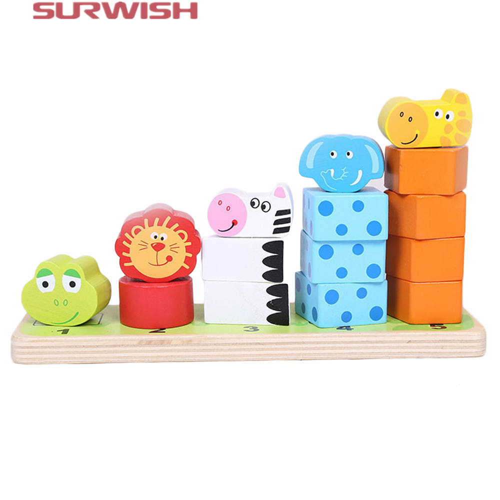 Surwish Cartoon Animal Stacking Wooden Counting Stacker Baby Kids Children Educational Toy surwish wooden clown rainbow stacker seesaw balance scale board balancing game kids early education toy