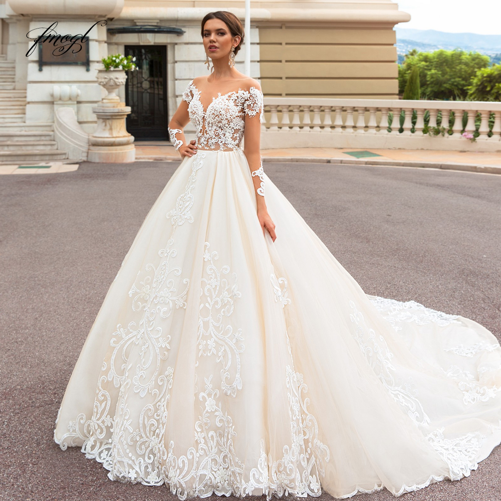 Fmogl Sexy Backless Long Sleeve Princess Wedding Dress 2019 Scoop Neck Appliques Beaded Court Train Vintage A Line Bridal Gowns