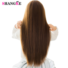 SHANGKE 5 Clip In Hair Extensions Strong On Heat Resistant Synthetic Pieces Natural Fake