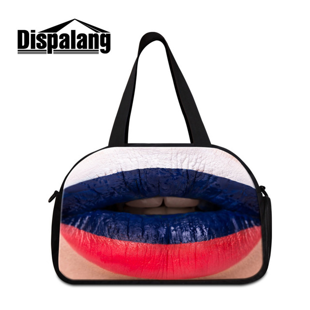 fb20398618 Dispalang Large Travel Luggage Bag Russia Flag on Lip Men Hand Luggage  Travel Duffle Bags Ultralight Foldable Shoulder Tote Bags