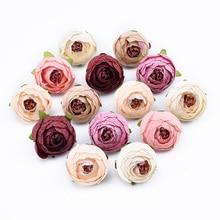 10 шт. декоративные цветы стены Свадебные аксессуары оформление diy подарки коробка искусственные цветы для скрапбукинга шелковые Чайные розы