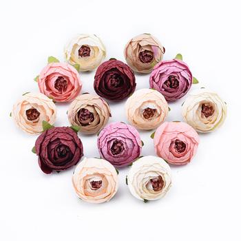 10 sztuk dekoracyjne kwiaty ścienne akcesoria ślubne dla nowożeńców odprawy diy prezenty box sztuczne kwiaty scrapbooking silk tea roses tanie i dobre opinie dycrazy Róża Kwiat Głowy Ślub Jedwabiu