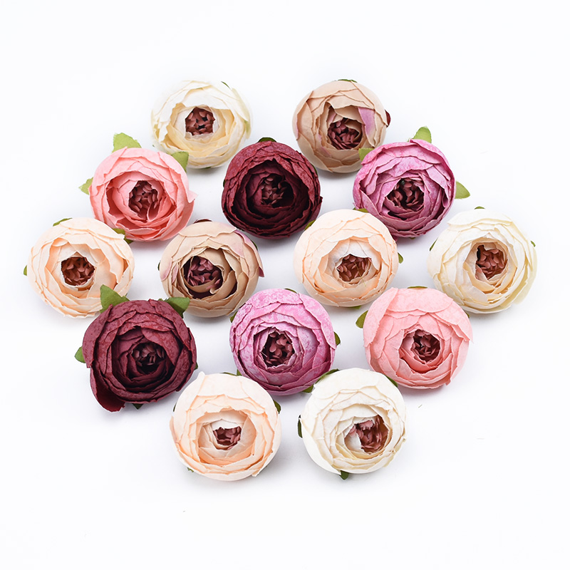 10pcs Decorative flowers wall wedding bridal accessories clearance diy gifts box artificial flowers scrapbooking silk tea roses(China)