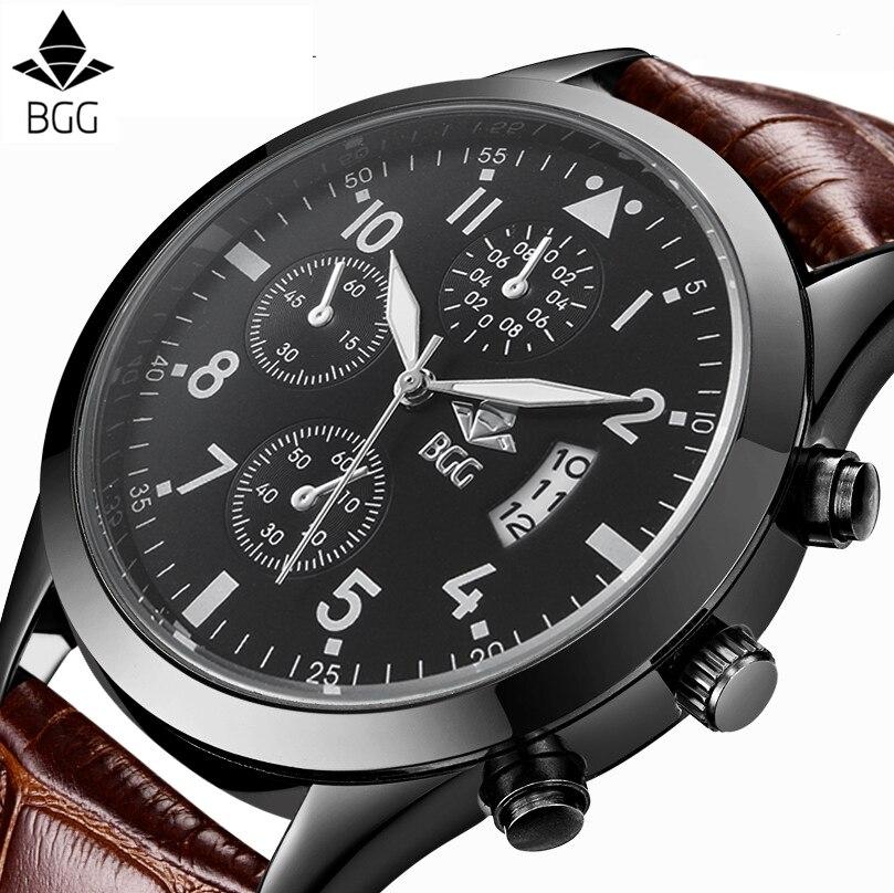 BGG De Luxe Marque Casual Mens Montre en cuir véritable Quartz Montre Hommes homme sport montre-Bracelet D'affaires horloge Heures montres calendrier
