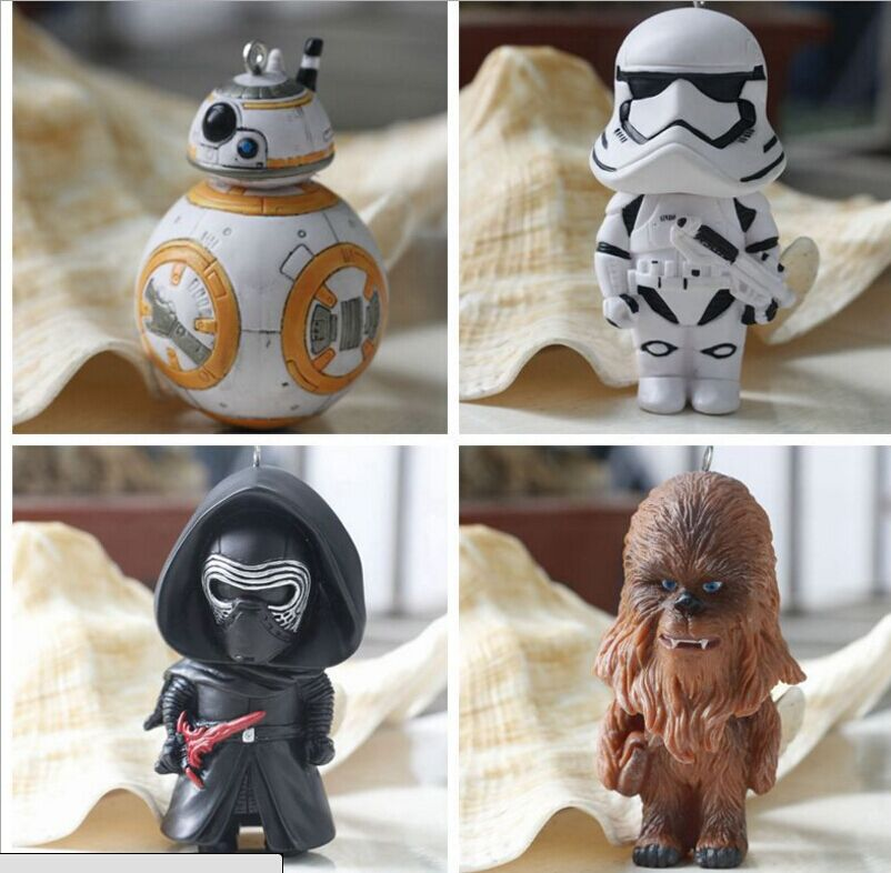 Star Wars 7 BB-8 Robot 2016 New 8cm Force Awaken BB8 pendant droid Darth Vader Storm Trooper Chewbacca figura Keychain toys star wars bb8 droid 3d bulbing light toys 2016 new 7 color changing visual illusion led lamp darth vader millennium falcon toy