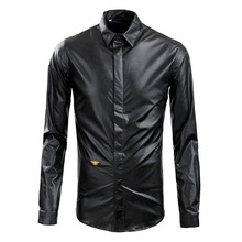 2016 New Arrived Men Clothing Casual Slim Fit Leather Shirt Men Shirt Long Sleeve Mens Dress Shirts Long Sleeve Designer