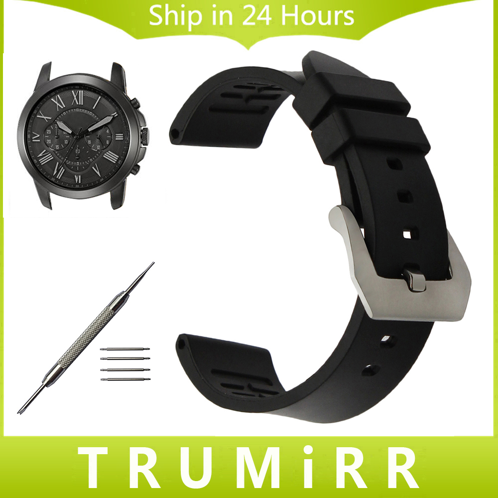 Fluoro Rubber Watchband for Fossil Q Founder Wander Crewmaster Grant Marshal Nate Stainless Steel Buckle Watch