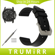 Fluoro Rubber Watchband for Fossil Q Founder Wander Crewmaster Grant Marshal Nate Stainless Steel Buckle Watch Band Wrist Strap