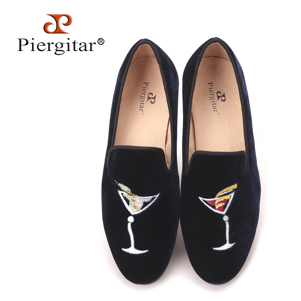 Piergitar new style wineglass embroidery Handmade women shoes slip on women Loafers women' flats spring and summer casual shoes cresfimix zapatos women cute flat shoes lady spring and summer pu leather flats female casual soft comfortable slip on shoes