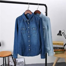 Женская одежда больших размеров Новая блузка с длинными рукавами качественная джинсовая рубашка винтажные повседневные синие джинсы рубашка женские блузки