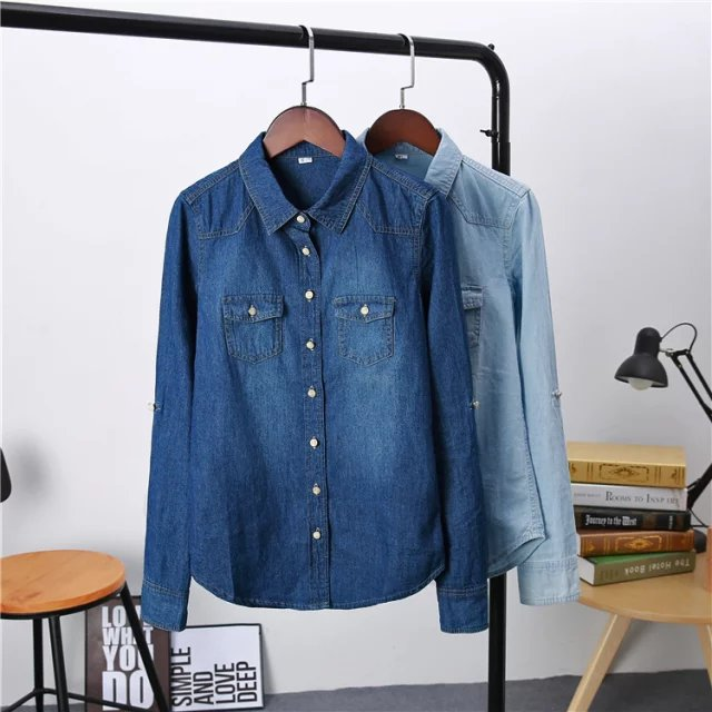 Plus Size Women's Clothing 2020 Spring Long Sleeves Blouse Quality Denim Shirt Vintage Casual Blue Jeans Shirt Camisa Femininas