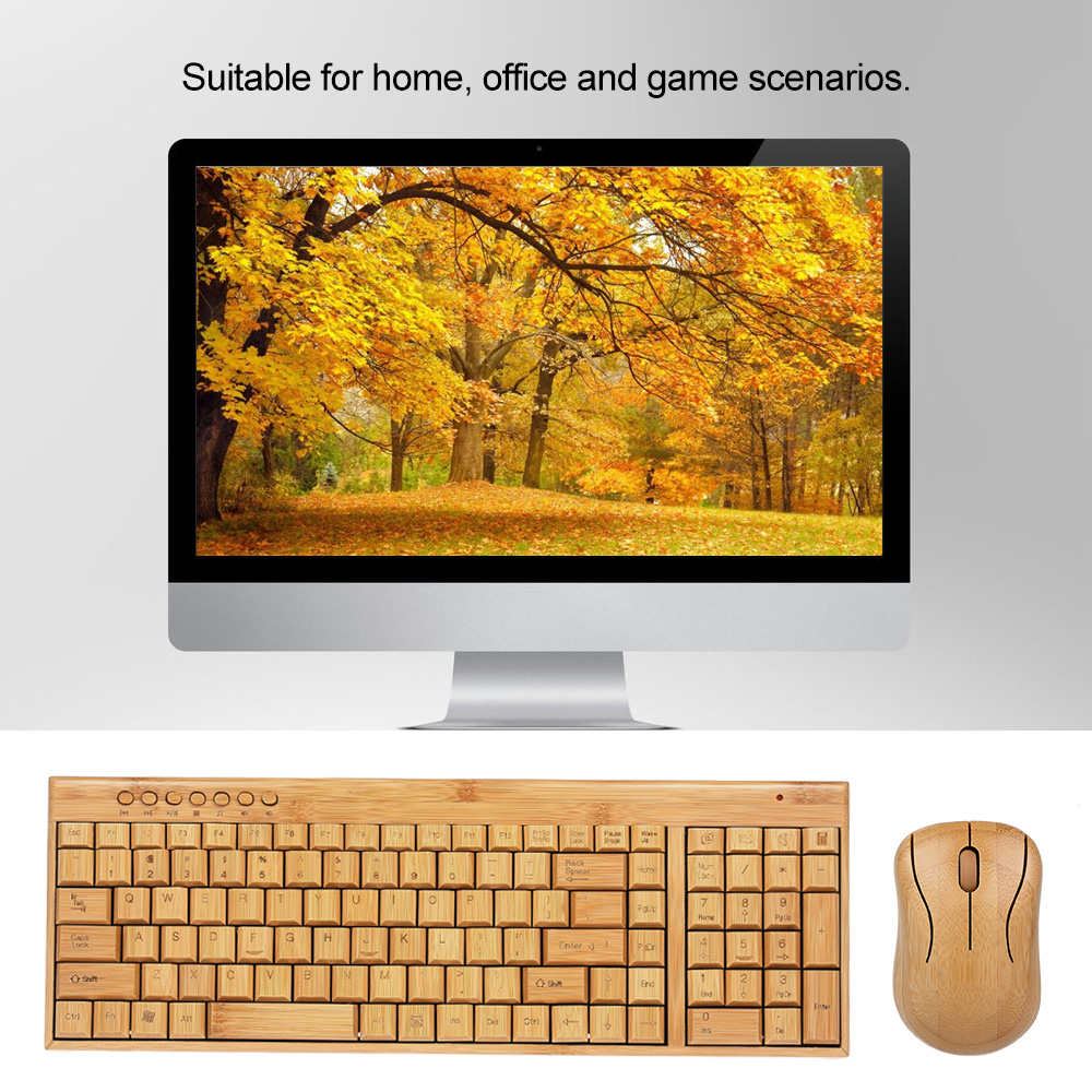 Handcrafted 2.4G Wireless Natural Bamboo Wood PC Keyboard & Mouse Set Computer Keyboard Plug and Play office home 18
