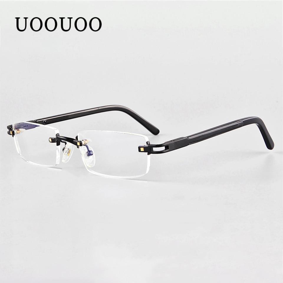 UOOUOO myopia prescription glasses men with MR-7 CR39 lens glasses rimless anti blue ray glasses Index 1.67 lens 2750
