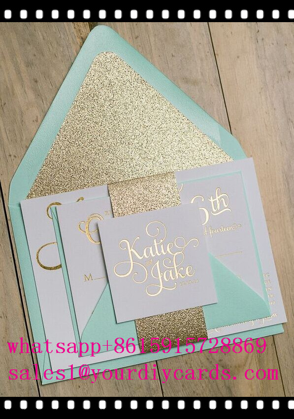 mint green wedding invitation card with gold glitterin Cards