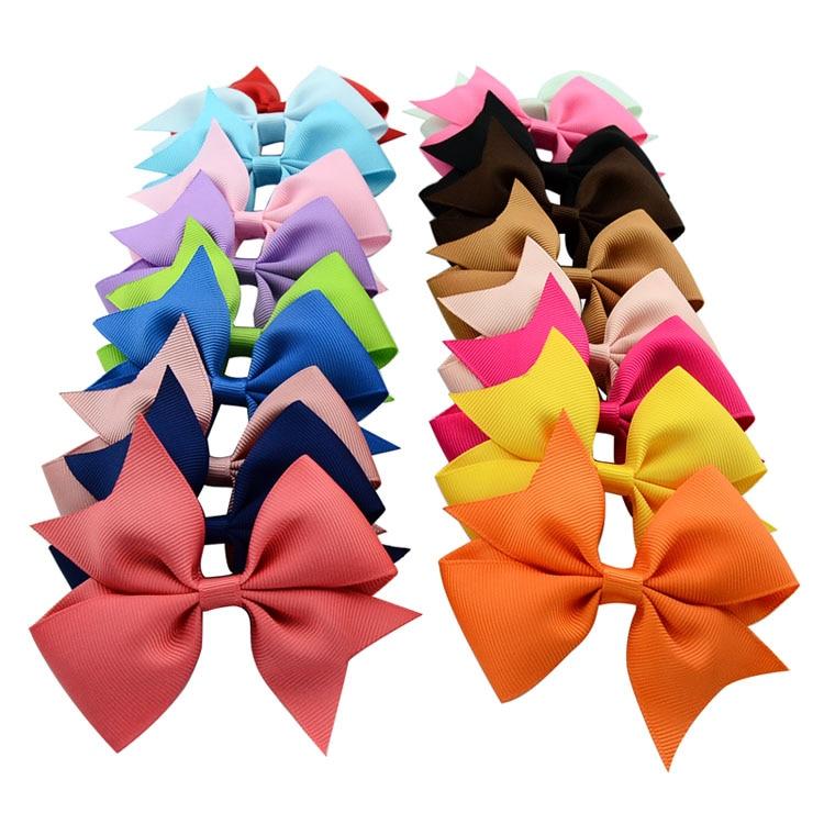 40Pcs Girl Rib Ribbon Bowknot Boutique Hair Bows Teens Baby Girls Headwear New