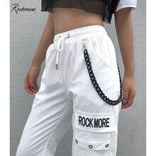 Rockmore Nero Pantaloni Cargo Con Tasche Catena Delle Donne Dei Pantaloni A Vita Alta Bianco Pantaloni Larghi del Piedino Femme Mutanda Inverno Streetwear Autunno