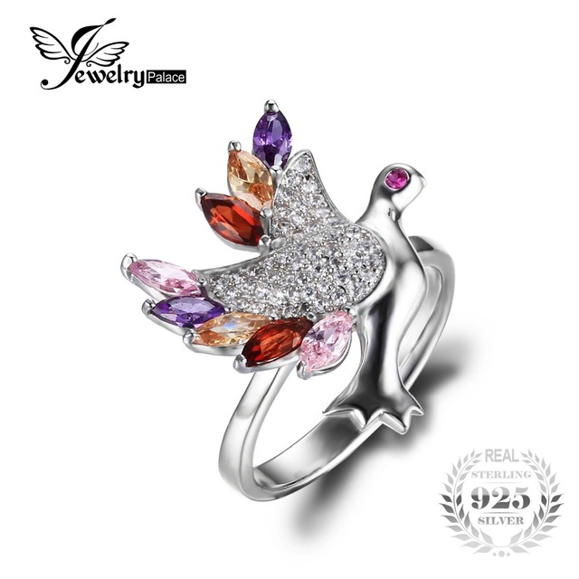 JewelryPalace Bird Multicolor stones Cubic Zirconia Ring Pure 925 Sterling Silver Fashion 2016 New Fine Jewelry For Women