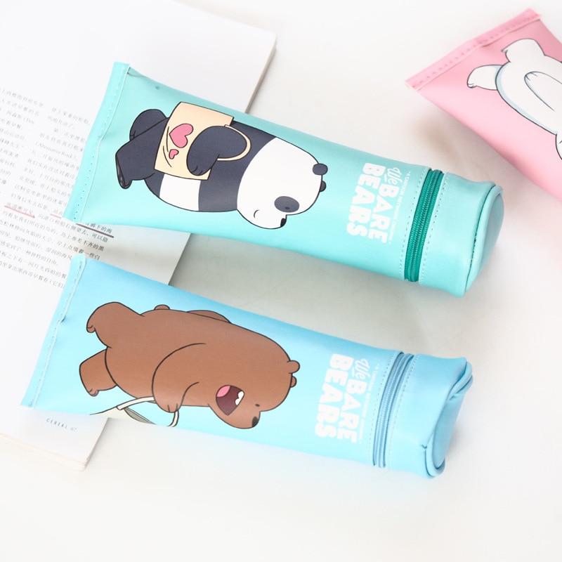 Bear Naked Toothpaste PU Leather Pencil Case Stationery Storage Bag Escalar Papelaria Escolar School Supplies