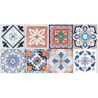 1 Roll 0 2x5m Retro Mosaic Tiles Stickers Waist Line Wall Sticker Kitchen Bathroom Toilet Border