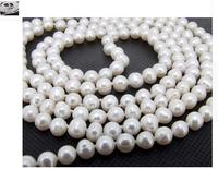 Women Gift Freshwater 7 8mm White Freshwater Cultured Pearl Necklace Pearl Jewelry Rope Chain Necklace Pearl Bead Natural Stone
