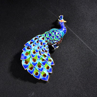 cloisonne enamel color 925 silver Enamel Jewelry Shaolan peacock Brooch