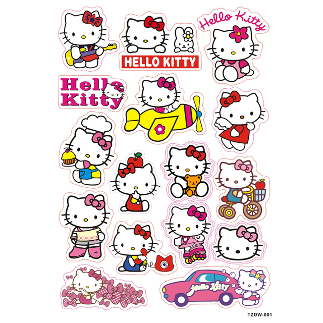 485fc843b 16pcs/lot hello kitty white cat Notebook skateboard trolley case decals  backpack Tables sticker PVC