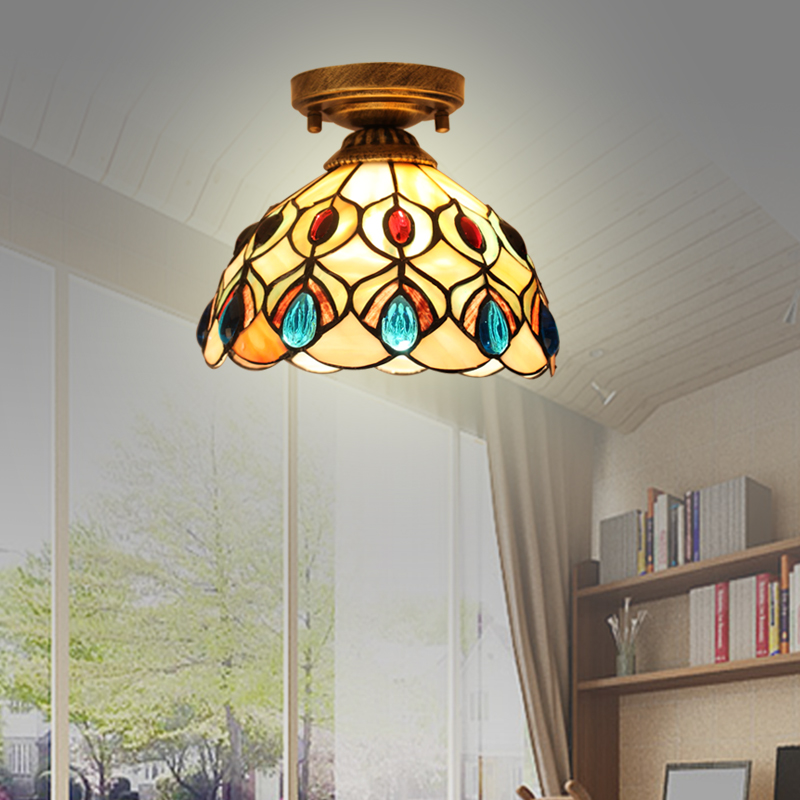 8inch Simple European mediterranean style shell ceiling light garden balcony antique aisle porch corridor shell lamp simple style ceiling light wooden porch lamp square ceiling lamp modern single head decorative lamp for balcony corridor study