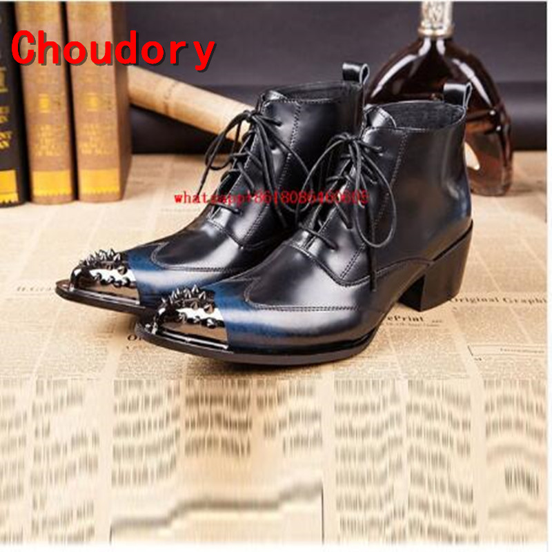 Choudory Botas militares hombre large sizes fashion rivets cowboy boots mens shoes high heel pointy toe punk shoes combat boots ...