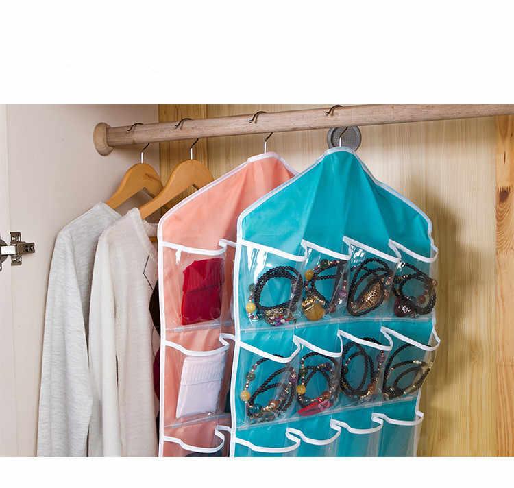 1PC 16 Bolsos Clara Sobre a Porta Saco Pendurado Sapato Cabide Rack de Armazenamento Tidy Organizador caixa de armazenamento de Casa pendurar OK 0458