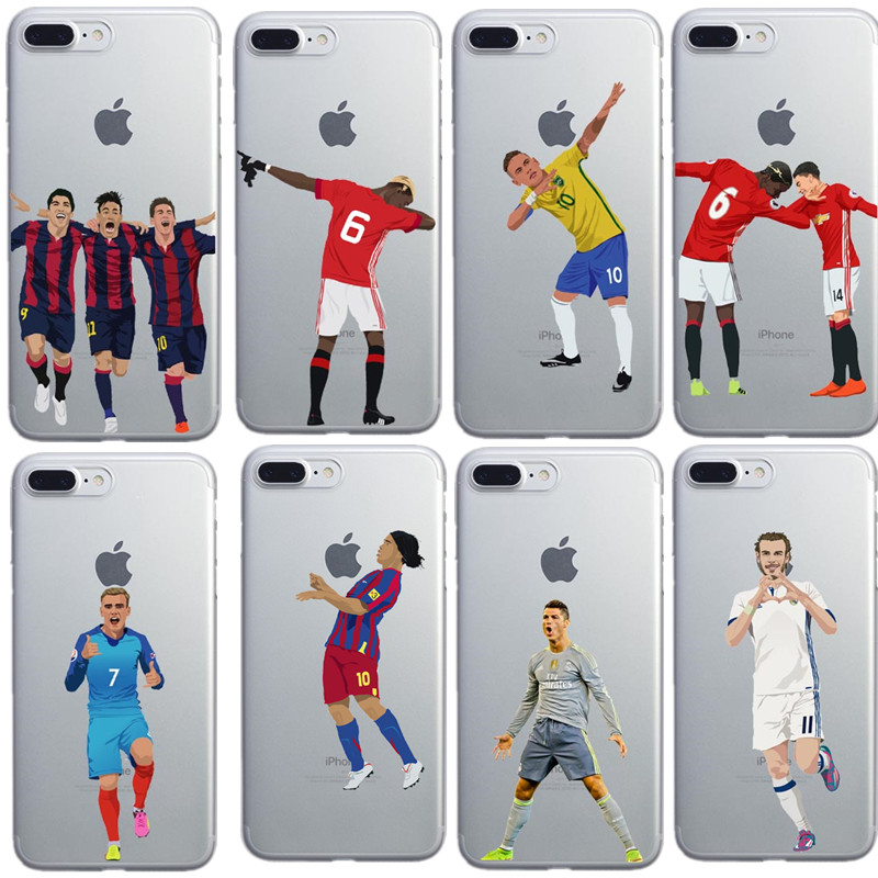 promo code 9982f 3bcd7 US $2.39 |Clear Soft TPU Phone Case Cover For iphone X 6S 7 Plus Silicone  Coque Sport Football Soccer Star Cristiano Ronaldo Messi pogba-in ...