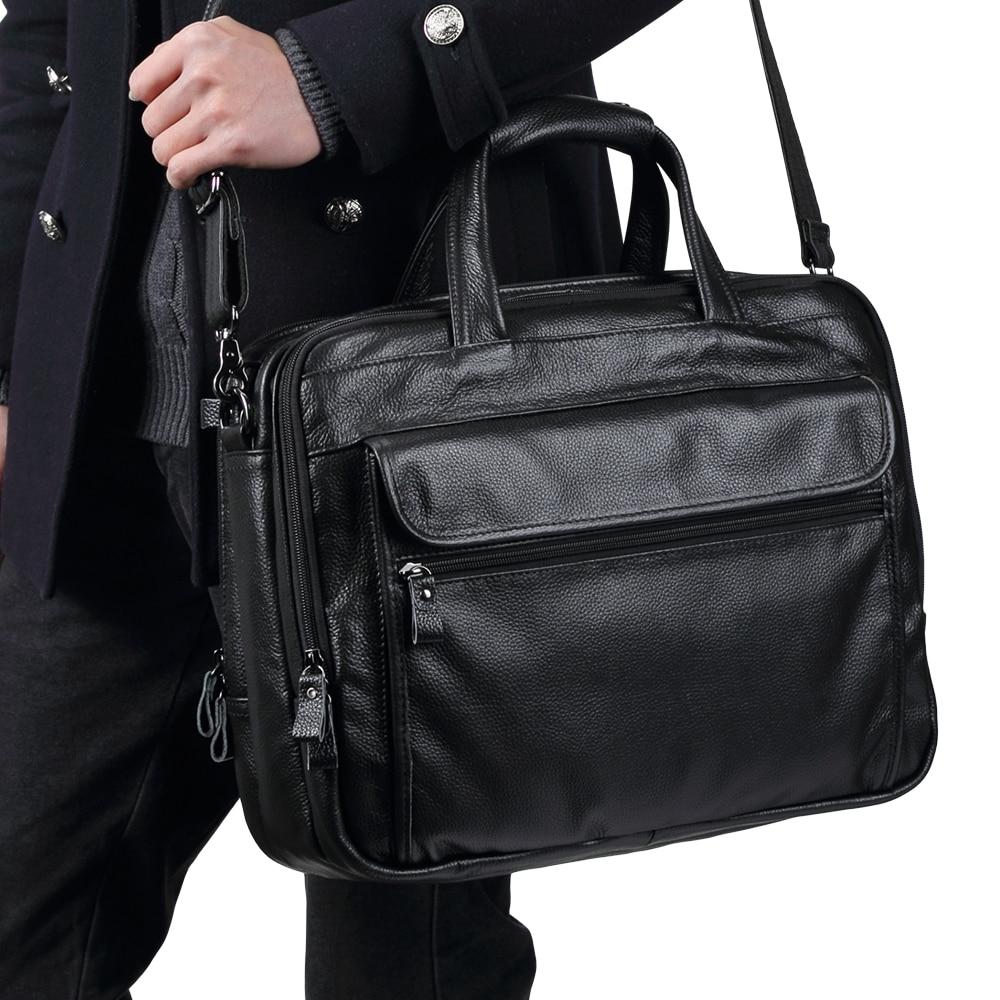 TRASSORY Genuine Leather Men's Briefcase Business Retro Handbag15.7 Inch Leather Computer Laptop Bag Men Messenger Bag