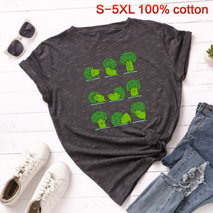 Image 5 - SINGRAIN Camiseta de algodón con brócoli para mujer, Tops básicos de talla grande para mujer, camiseta Multicolor con estampado vegano Harajuku