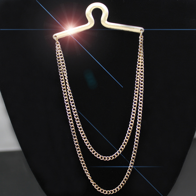 Trendy Gold Silver Double Loop Link Tie Chain Clip Button Hole Men Jewelry Costume To Line Dance Rodeo Jewelry